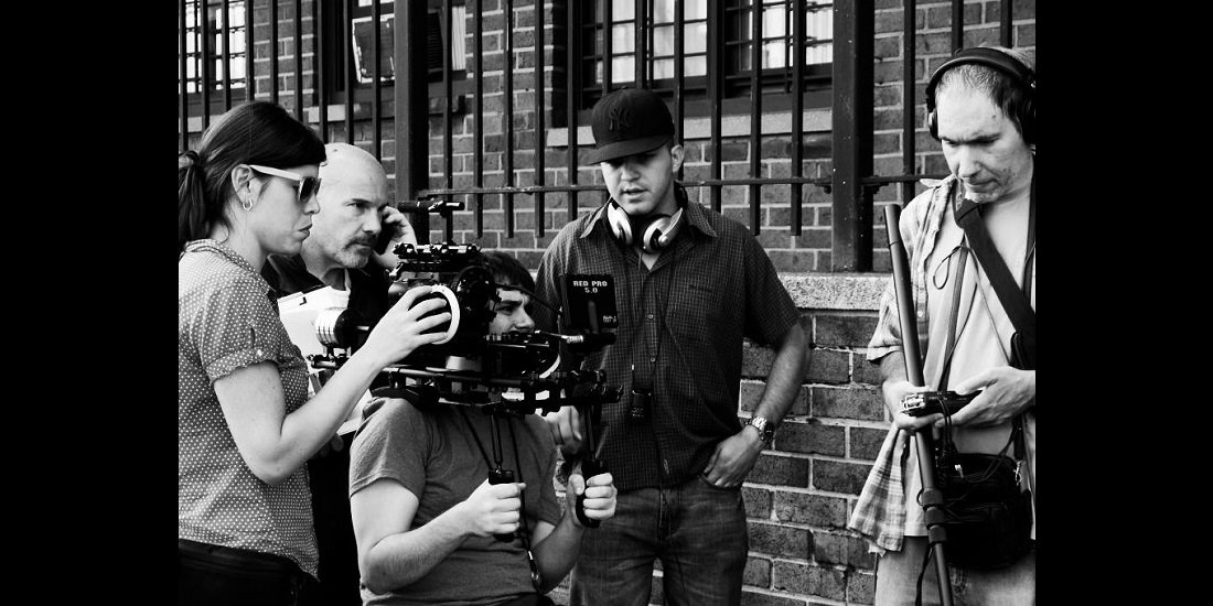 Film Crew on Set - BW