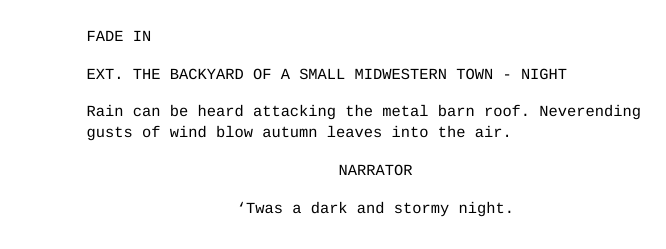 Example of a movie script format